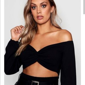 Boohoo Plus Elle Twist Front Balloon Sleeve Top
